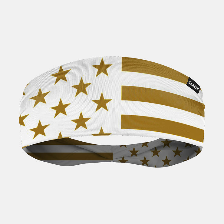 USA Flag White and Gold Headband
