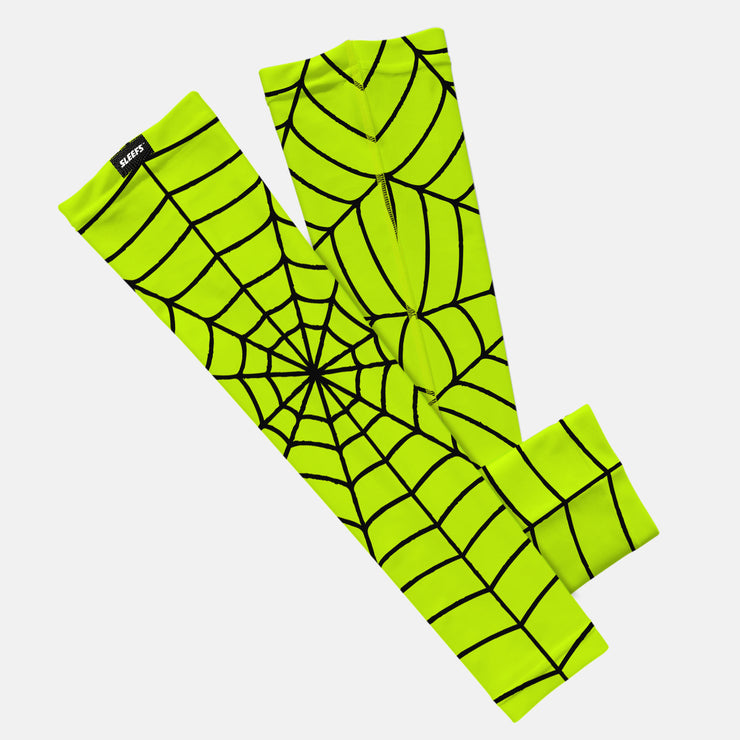 Web Pattern Safety Yellow Kids Arm Sleeve