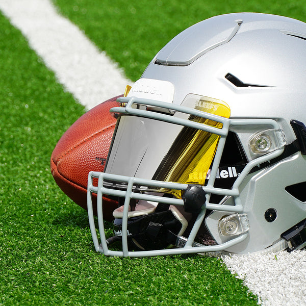 Yellow Machine Silver Helmet Eye-Shield Visor