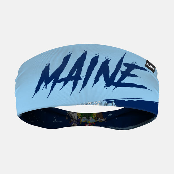 Maine State Spell Out Doublesided Headband