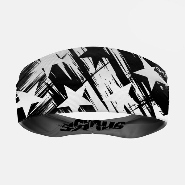 Savage Stars Black White Double Sided Headband