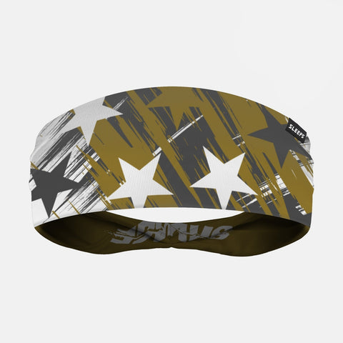Savage Stars Charcoal Gold White Double Sided Headband