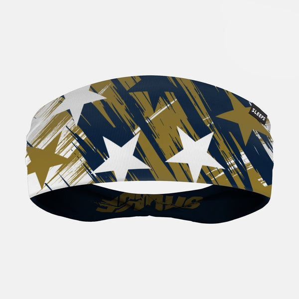 Stars Gold Navy White Double Sided Headband