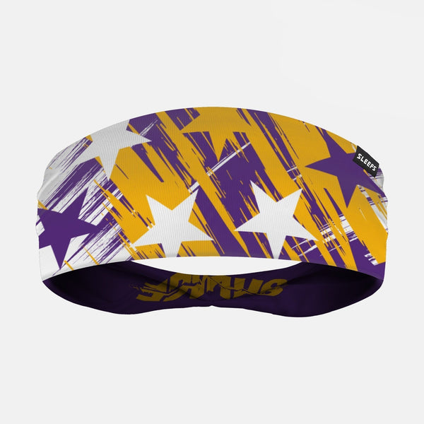 Savage Stars Purple Yellow White Double Sided Headband