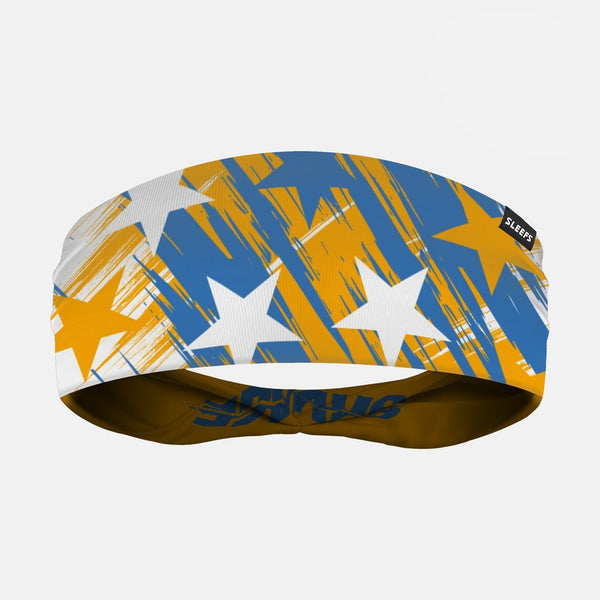 Savage Stars Yellow Blue White Double Sided Headband