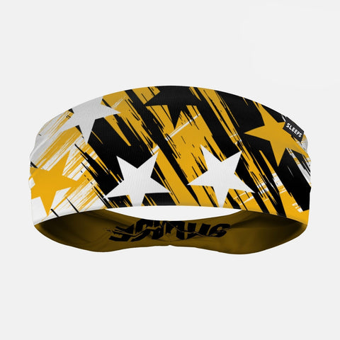 Savage Stars Yellow Black White Double Sided Headband