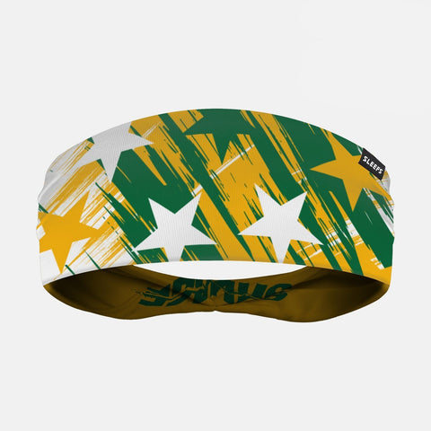 Savage Stars Yellow Green White Double Sided Headband