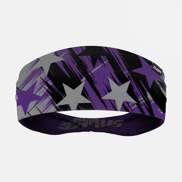 Savage Stars Purple Gray Black Double Sided Headband