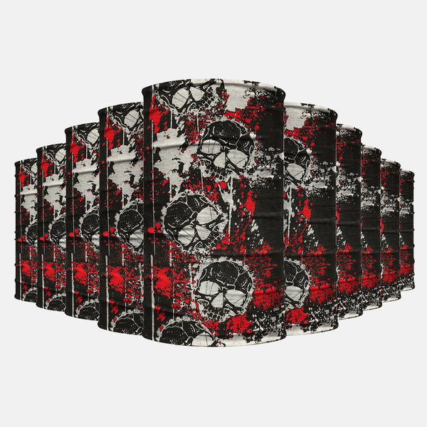 10 Pack White Black Red Skulls Neck Gaiter