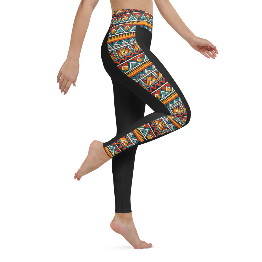 Beautiful print Yoga Leggings - Black