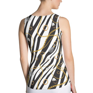 Chains on zebra print Tank Top