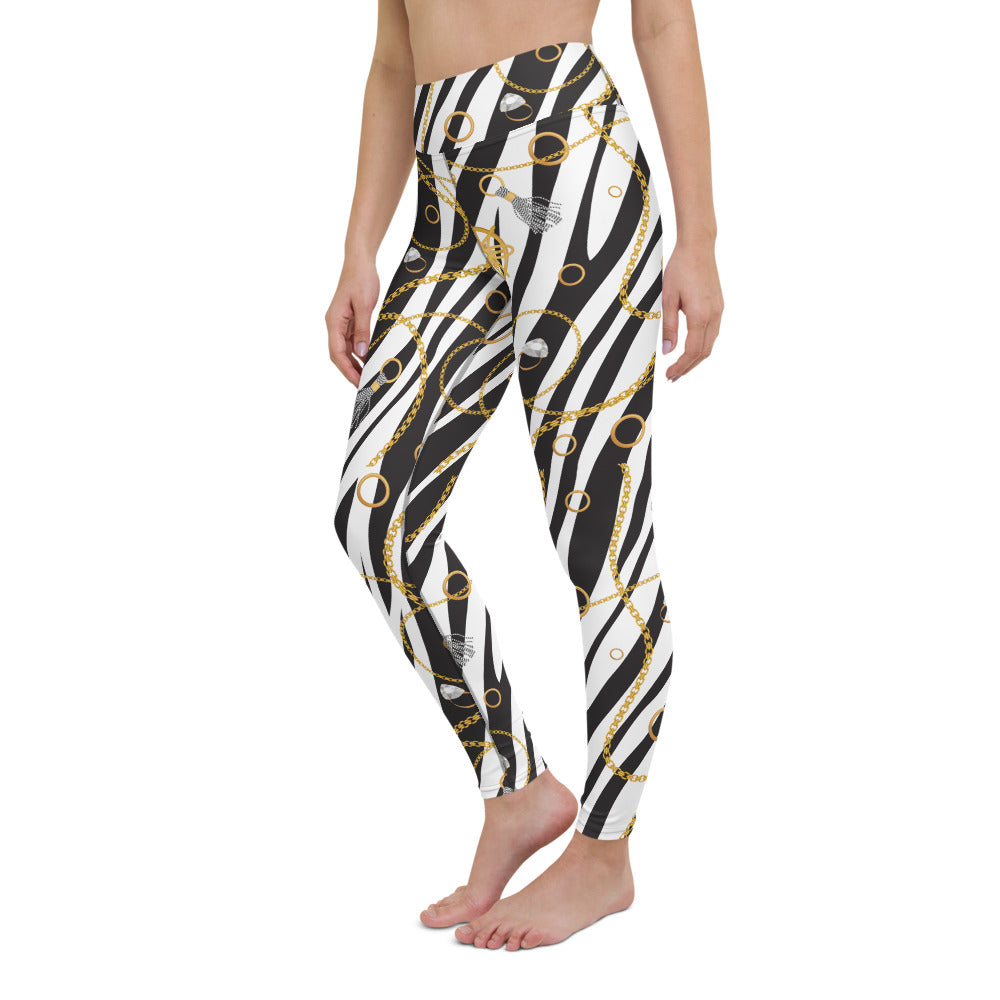 Chains on Zebra Print Yoga Leggings