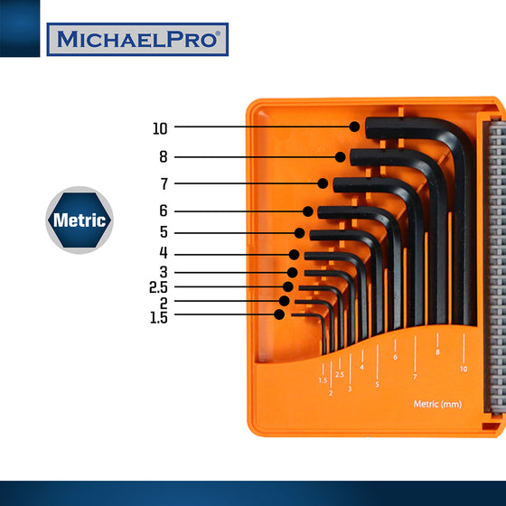 MP001046 Short Arm Hex Key Set with Foldable Organizer in 20pcs/pack