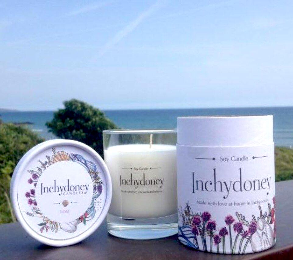 Inchydoney Glass Soy Wax Candle in Keepsake Box - Strelitzia's Floristry & Irish Craft Shop
