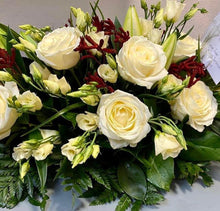 Load image into Gallery viewer, Funeral Wreath - White, Cream with Rust accents - Strelitzia's Floristry & Irish Craft Shop