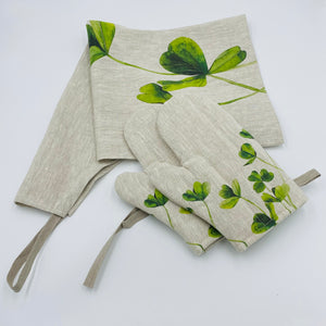 Shamrock Hand Painted Apron and Oven Gloves - Strelitzia's Floristry & Irish Craft Shop