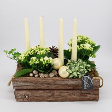 Load image into Gallery viewer, Rustic Christmas Fresh Table Centrepiece Display - White - Strelitzia's Floristry & Irish Craft Shop