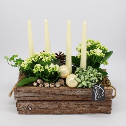 Rustic Christmas Fresh Table Centrepiece Display - White