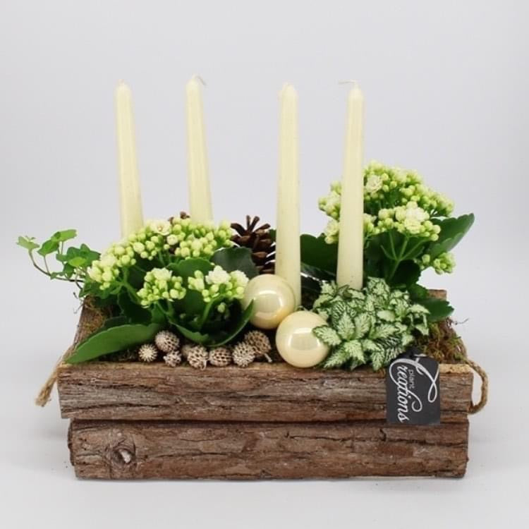 Rustic Christmas Fresh Table Centrepiece Display - White - Strelitzia's Floristry & Irish Craft Shop