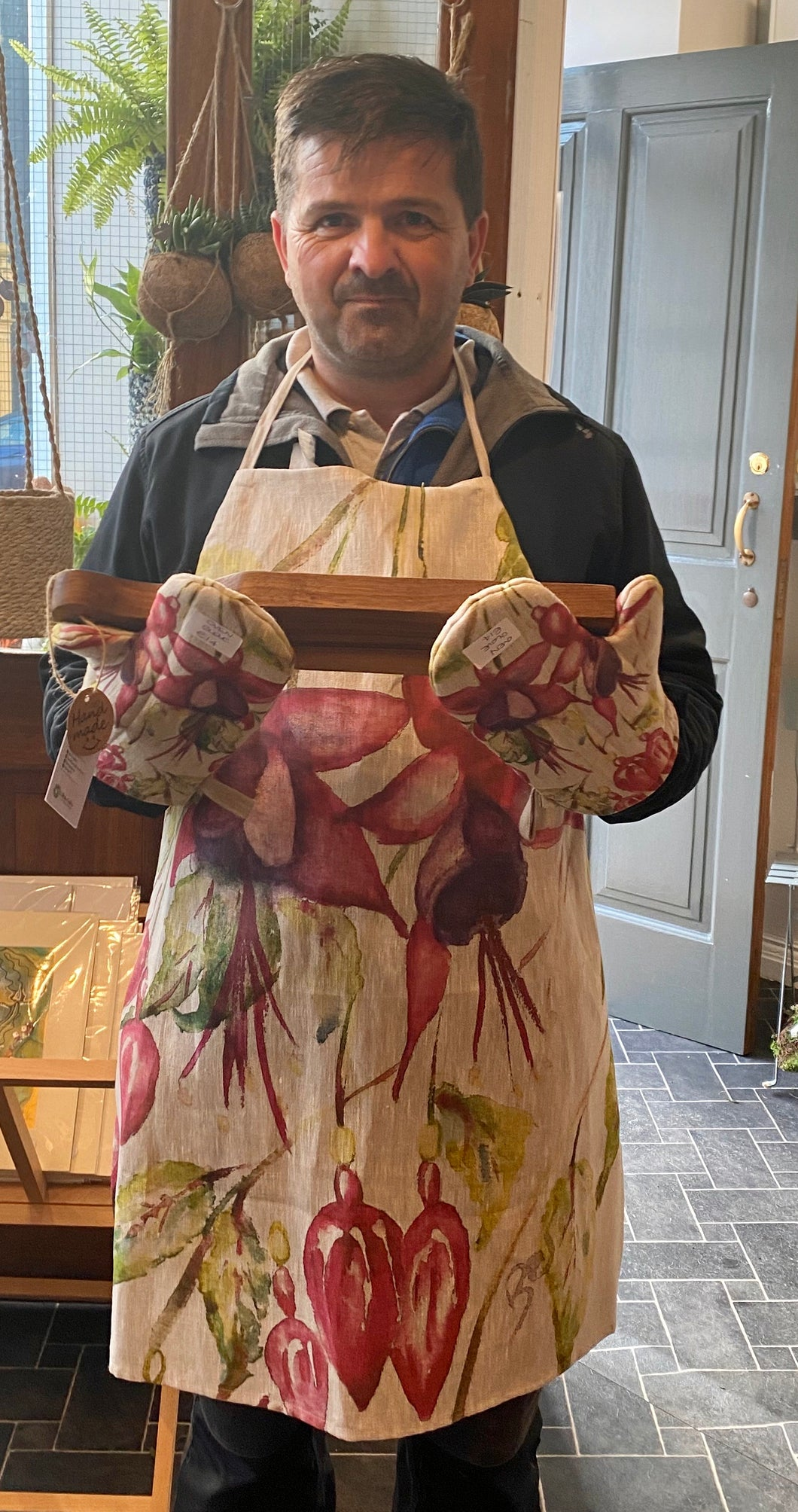 Fuchsia (Style 1) Hand Painted Apron and Oven Gloves - Strelitzia's Floristry & Irish Craft Shop