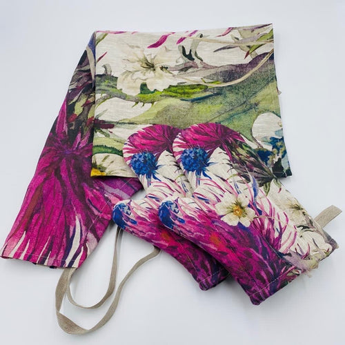 Thistle Hand Painted Apron and Oven Gloves - Strelitzia's Floristry & Irish Craft Shop