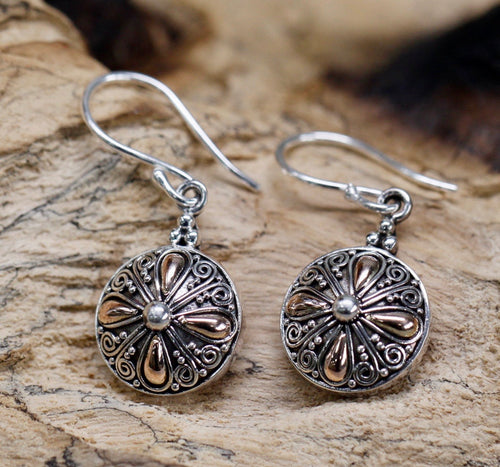 Classical Round Silver & Gold Earrings - Strelitzia's Floristry & Irish Craft Shop