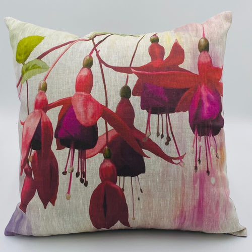 Fuchsia (Style 2) Hand Painted Cushion (45cm x 45cm) - Strelitzia's Floristry & Irish Craft Shop