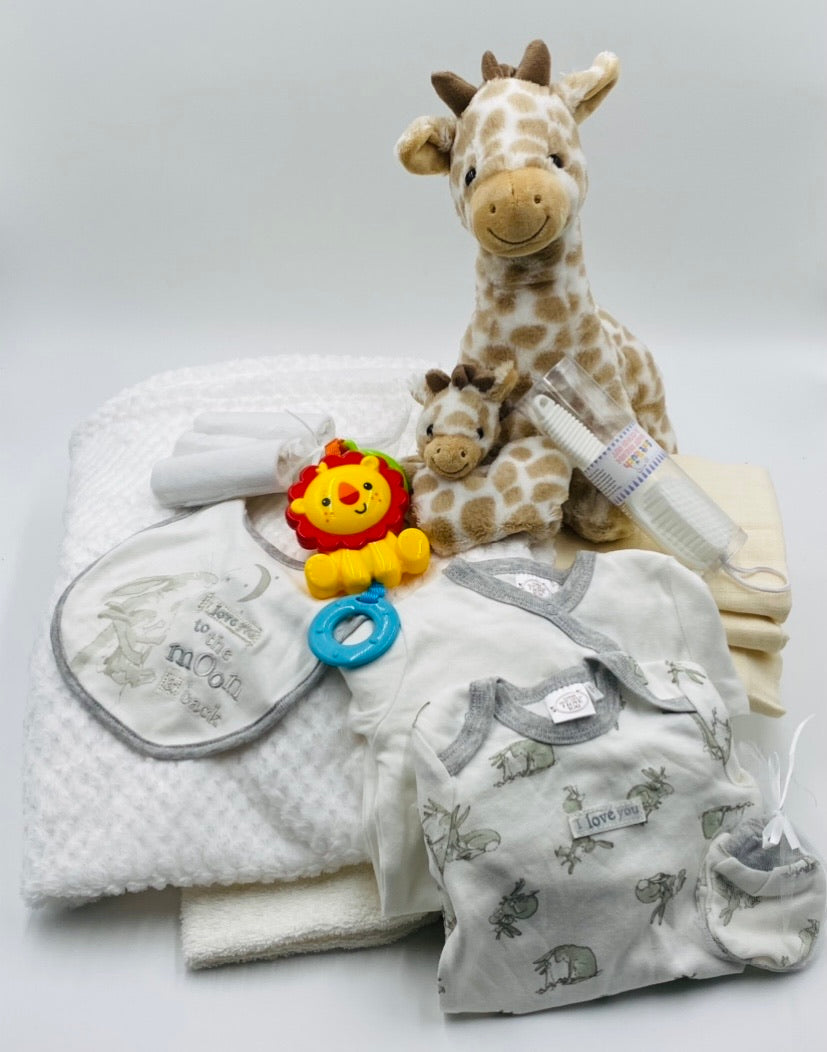 Soft and Snuggly Baby Hamper or Nappy Cake - Neutral - Strelitzia's Floristry & Irish Craft Shop