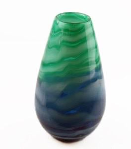 HANDBLOWN GLASS VASE - GREEN/ BLUE 26CM - Strelitzia's Floristry & Irish Craft Shop