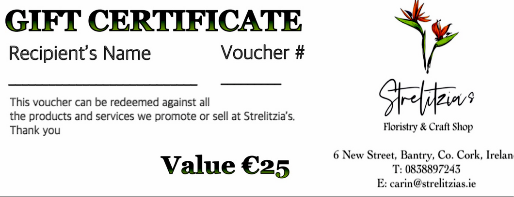 Gift Vouchers - Strelitzia's Floristry & Irish Craft Shop