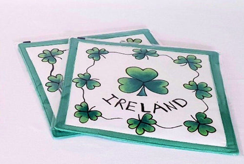 Irish Shamrock Pot Holders - Pair (Set of 2) - Strelitzia's Floristry & Irish Craft Shop