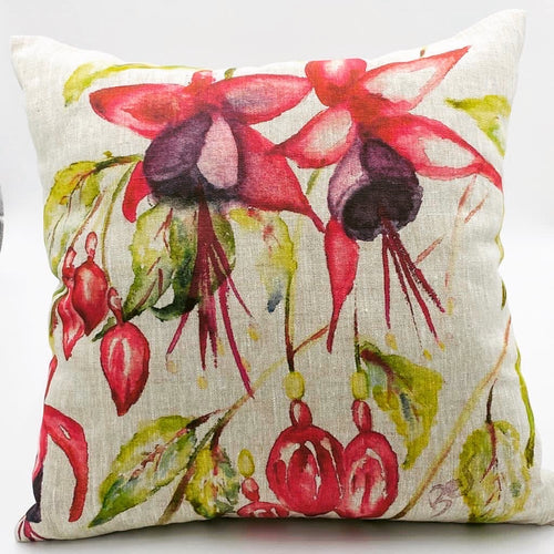 Fuschia Hand Painted Cushion (45cm x 45cm) - Strelitzia's Floristry & Irish Craft Shop
