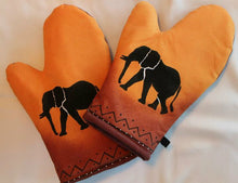 Load image into Gallery viewer, Elephant style Hand painted Oven gloves - Pair (Set of 2) - Strelitzia's Floristry & Irish Craft Shop