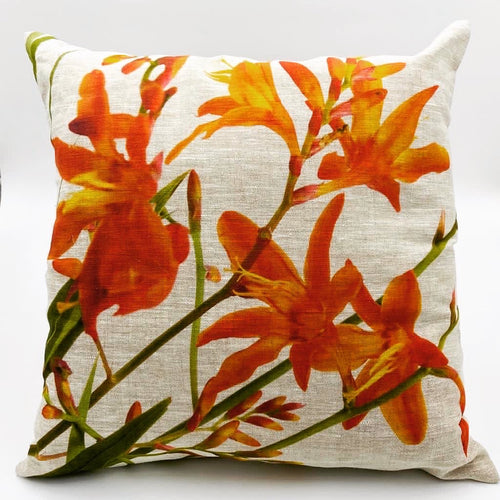 Montbretia Hand Painted Cushion (45cm x 45cm) - Strelitzia's Floristry & Irish Craft Shop