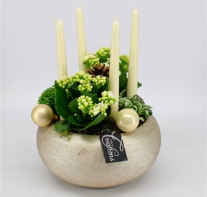 Dinner Candle Christmas Fresh Table Centrepiece Display - Strelitzia's Floristry & Irish Craft Shop