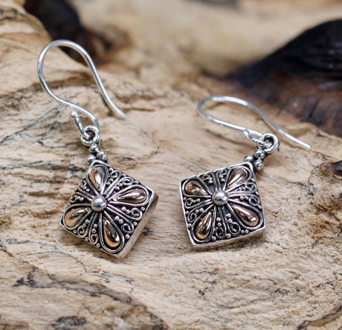 Classical Square Silver & Gold Earrings - Strelitzia's Floristry & Irish Craft Shop