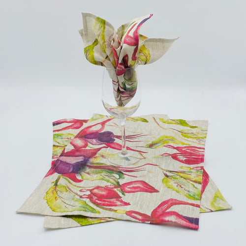 Fuchsia (Style 1) Hand Painted Table placemats & Napkin Sets - Strelitzia's Floristry & Irish Craft Shop