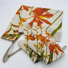 Load image into Gallery viewer, Montbretia Hand Painted Apron and Oven Gloves - Strelitzia's Floristry & Irish Craft Shop