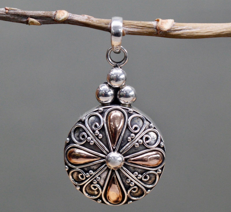 Round drop Silver & Gold Pendant and Chain - Strelitzia's Floristry & Irish Craft Shop