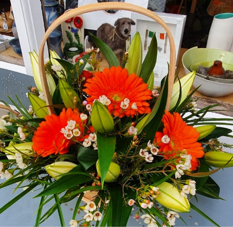Orange Fresh Flower Gift Basket - Strelitzia's Floristry & Irish Craft Shop