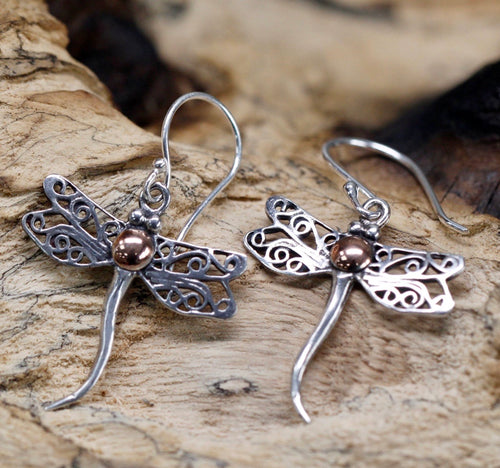 Silver & Gold Dragonfly Earrings - Strelitzia's Floristry & Irish Craft Shop