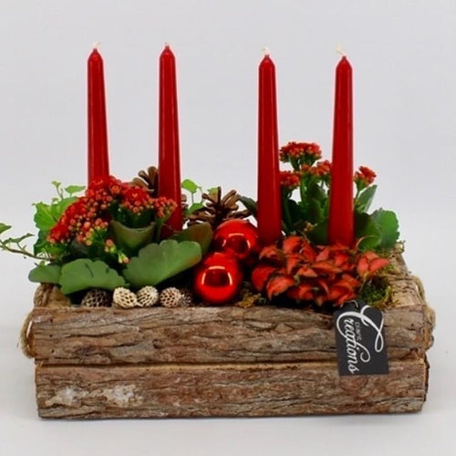 Rustic Christmas Fresh Table Centrepiece Display - Red