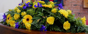 Casket Wreath With Yellows & Blues - Strelitzia's Floristry & Irish Craft Shop