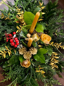 Christmas Fresh Red & Gold Table Centrepiece Display - Strelitzia's Floristry & Irish Craft Shop