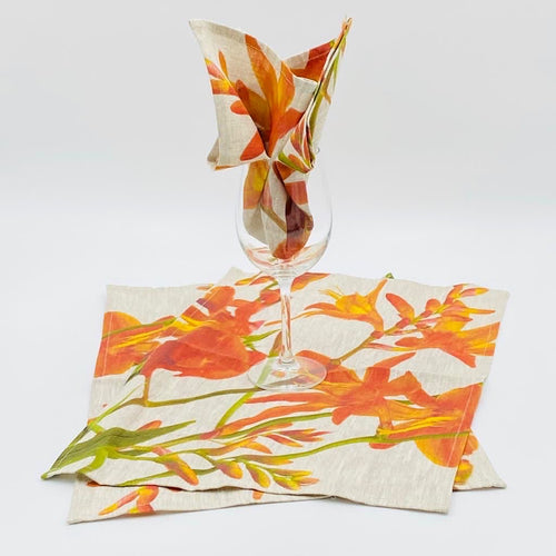 Montbretia Hand Painted Table placemats & Napkin Sets - Strelitzia's Floristry & Irish Craft Shop