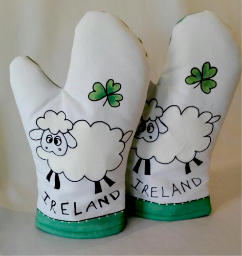 Irish Sheep Oven Gloves - Pair (Set of 2) - Strelitzia's Floristry & Irish Craft Shop