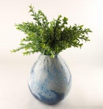 Load image into Gallery viewer, HAND BLOWN GLASS BUBBLE VASE WHITE & NAVY 23CM - Strelitzia's Floristry & Irish Craft Shop