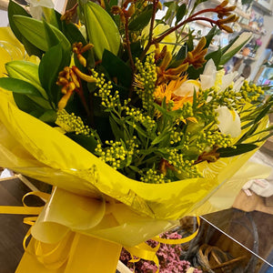 Wild Yellow Fresh Flower Bouquet - Strelitzia's Floristry & Irish Craft Shop