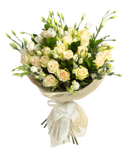 A Simple & Classy White Fresh Flower Bouquet - Strelitzia's Floristry & Irish Craft Shop