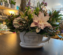 Load image into Gallery viewer, LIVE .. LOVE ... LAUGH with Seasonal Fresh Flower Gift Cup - Strelitzia's Floristry & Irish Craft Shop